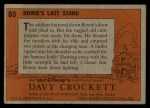 1956 Topps Davy Crockett #80 ORA  Bowie's Last Stand  Back Thumbnail