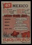 1956 Topps Flags of the World #67   Mexico Back Thumbnail