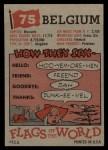 1956 Topps Flags of the World #75   Belgium Back Thumbnail
