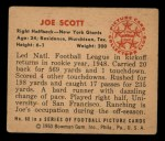 1950 Bowman #68   Joe Scott Back Thumbnail