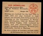 1950 Bowman #107  Leo Nomellini  Back Thumbnail