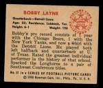 1950 Bowman #37  Bobby Layne  Back Thumbnail