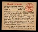 1950 Bowman #102  Frank Spaniel  Back Thumbnail