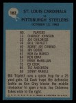 1964 Philadelphia #182  St. Louis Cardinals  -  Wally Lemm  Back Thumbnail