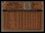 1972 Topps #82   Ron Woods Back Thumbnail