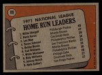 1972 Topps #89  1971 NL Home Run Leaders    -  Hank Aaron / Lee May / WIllie Stargell Back Thumbnail