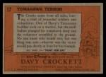 1956 Topps Davy Crockett #17 ORG Tomahawk Terror   -     Back Thumbnail