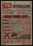 1956 Topps Flags of the World #76   Netherlands Back Thumbnail