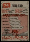 1956 Topps Flags of the World #74   Finland Back Thumbnail