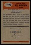 1955 Bowman #92   Bill Wightkin Back Thumbnail