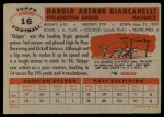 1956 Topps #16  Hal Giancanelli  Back Thumbnail