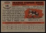 1956 Topps #15   Fran Rogel Back Thumbnail