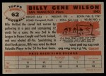 1956 Topps #62   Billy Wilson Back Thumbnail