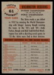 1956 Topps #61   Redskins Team Back Thumbnail