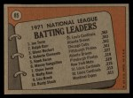 1972 Topps #85  NL Batting Leaders    -  Glenn Beckert / Ralph Garr / Joe Torre Back Thumbnail