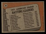 1972 Topps #86  191 AL Batting Leaders    -  Bobby Murcer / Tony Olivia / Merv Rettenmund Back Thumbnail