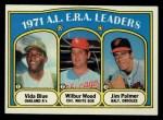 1972 Topps #92  1971 AL ERA Leaders    -  Vida Blue / Jim Palmer / Wilbur Wood Front Thumbnail