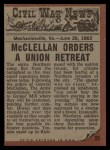 1962 Topps Civil War News #23  Crushed by Wheels  Back Thumbnail