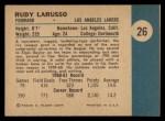 1961 Fleer #26  Rudy LaRusso  Back Thumbnail