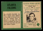 1966 Philadelphia #1   Falcons Logo Back Thumbnail