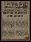 1962 Topps Civil War News #72   The Cannon's Victim Back Thumbnail