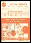 1963 Topps #126   Preston Carpenter Back Thumbnail