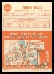 1963 Topps #138  Tommy Davis  Back Thumbnail