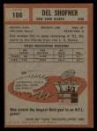 1962 Topps #106   Del Shofner Back Thumbnail
