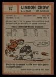 1962 Topps #87  Lindon Crow  Back Thumbnail