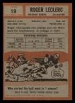 1962 Topps #19  Roger LeClerc  Back Thumbnail