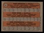 1972 Topps #61   -  Gene Hiser / Burt Hooton / Earl Stephenson Cubs Rookies   Back Thumbnail