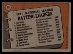 1972 Topps #85  1971 NL Batting Leaders    -  Glenn Beckert / Ralph Garr / Joe Torre Back Thumbnail