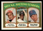 1972 Topps #85  1971 NL Batting Leaders    -  Glenn Beckert / Ralph Garr / Joe Torre Front Thumbnail