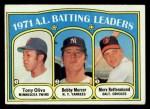 1972 Topps #86  AL Batting Leaders    -  Bobby Murcer / Tony Oliva / Merv Rettenmund Front Thumbnail