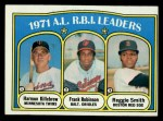 1972 Topps #88  1971 AL RBI Leaders    -  Harmon Killebrew / Frank Robinson / Reggie Smith Front Thumbnail