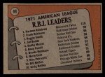 1972 Topps #88  1971 AL RBI Leaders    -  Harmon Killebrew / Frank Robinson / Reggie Smith Back Thumbnail
