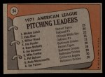 1972 Topps #94  1971 AL Pitching Leaders    -  Vida Blue / Mickey Lolich / Wilbur Wood Back Thumbnail