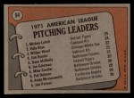 1972 Topps #94  AL Pitching Leaders    -  Vida Blue / Mickey Lolich / Wilbur Wood Back Thumbnail