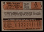1972 Topps #122  Larry Biittner  Back Thumbnail