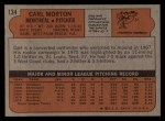 1972 Topps #134  Carl Morton  Back Thumbnail