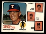 1973 Topps #549  Rangers Field Leaders  -  Whitey Herzog / Chuck Estrada /  Chuck Hiller / Jackie Moore Front Thumbnail
