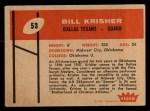1960 Fleer #53   Bill Krisher Back Thumbnail