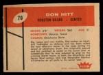 1960 Fleer #70   Don Hit Back Thumbnail