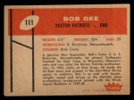 1960 Fleer #111  Bob Dee  Back Thumbnail