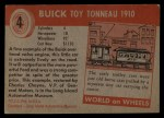 1953 Topps World on Wheels #4  Buick Toy Tonneau 1910  Back Thumbnail