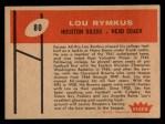 1960 Fleer #80   Lou Rymkus Back Thumbnail