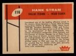 1960 Fleer #116   Hank Stram Back Thumbnail
