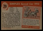1953 Topps World on Wheels #29   Simplex Speed Car 1910 Back Thumbnail
