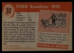 1953 Topps World on Wheels #37   Ford Roadster 1910 Back Thumbnail