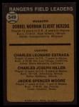 1973 Topps #549  Rangers Field Leaders  -  Whitey Herzog / Chuck Estrada /  Chuck Hiller / Jackie Moore Back Thumbnail